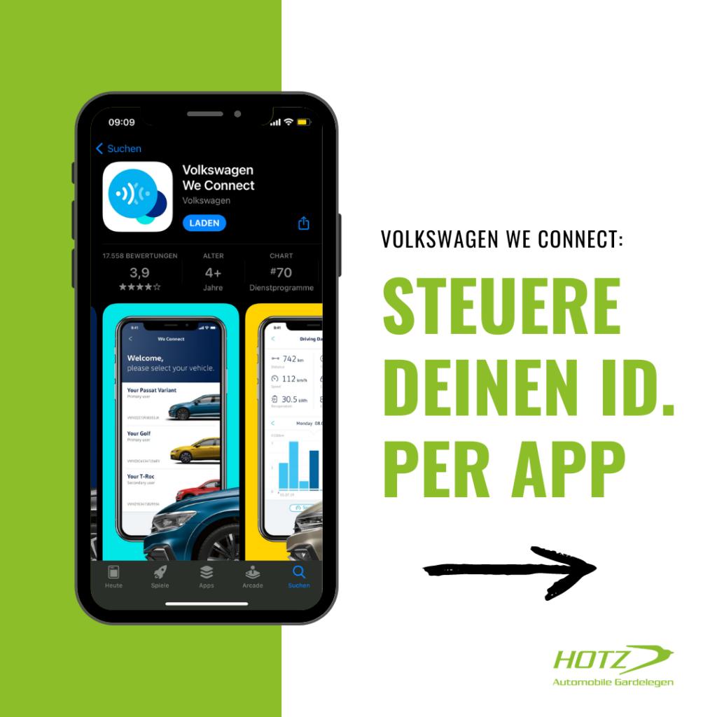Mit der We Connect App hast du immer und überall Zugriff auf die wichtigsten Fahrzeugdaten.